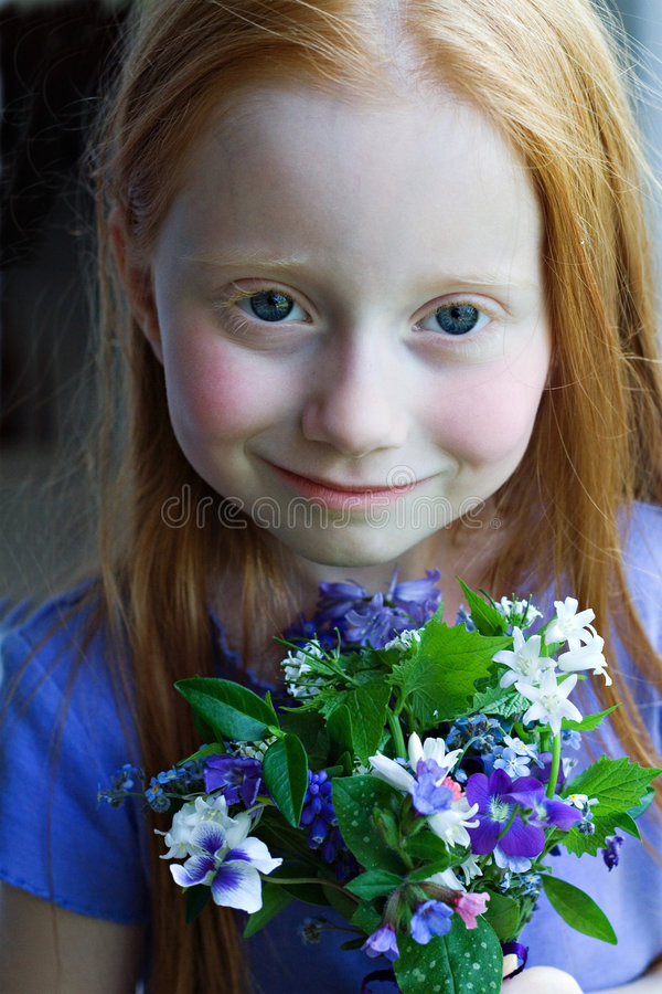 Download Girl wth Flowers stock image. Image of cheeks, focus, hair - 2459357