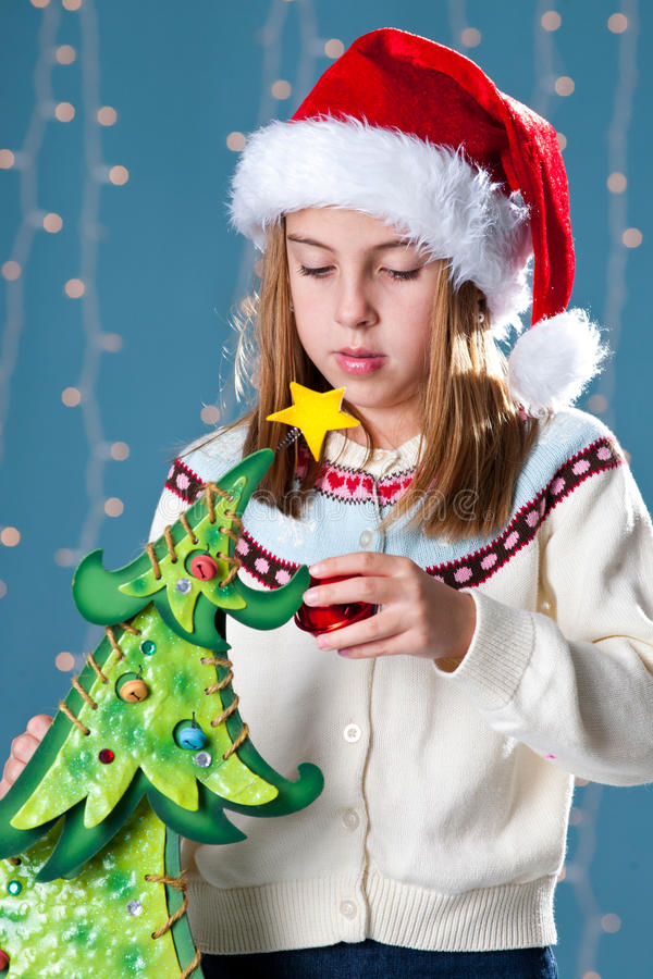 Download Girl in Xmas hat stock image. Image of pine, december - 27212433
