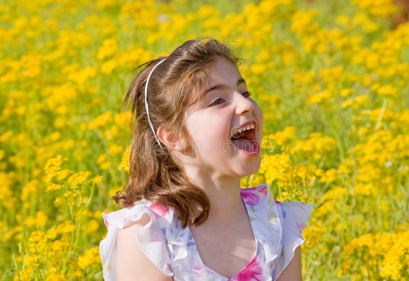 Download Girl Yelling stock image. Image of girl, female, flowers - 5613379