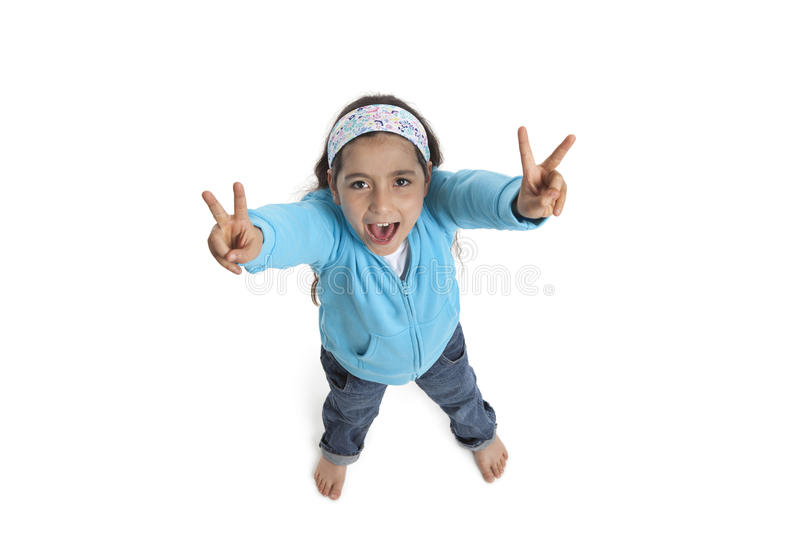 Download Girl Yelling And Making A V Sign Stock Photo - Image of background, horizontal: 19754640