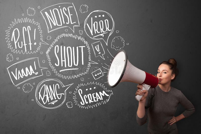 Download Girl Yelling Into Megaphone And Hand Drawn Speech Bubbles Come O Stock Image - Image: 35742985