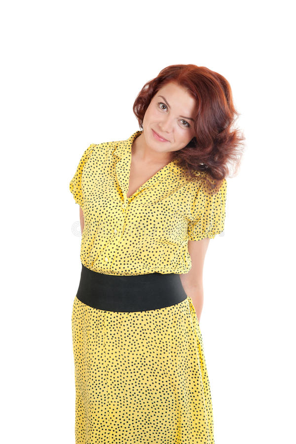 Download Girl in a yellow dress stock photo. Image of model, smile - 29071368