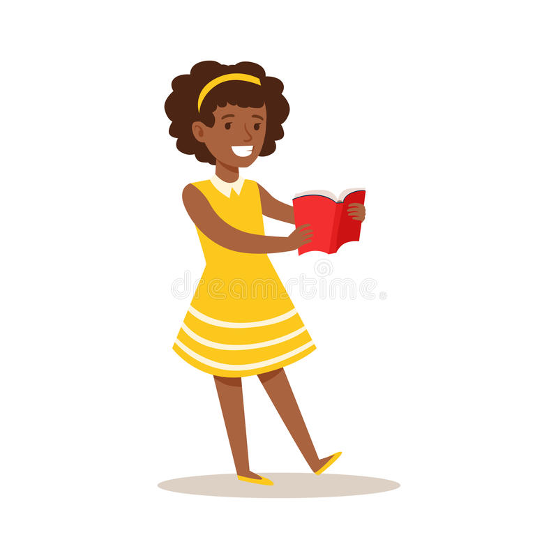 Girl In Yellow Dress Who Loves To Read, Illustration With Kid Enjoying Reading An Open Book stock illustration
