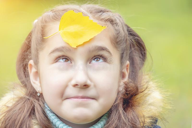 Girl with yellow leaves on her face. Smiles royalty free stock photography