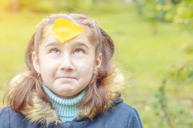 Girl with yellow leaves on her face. Smiles stock photos