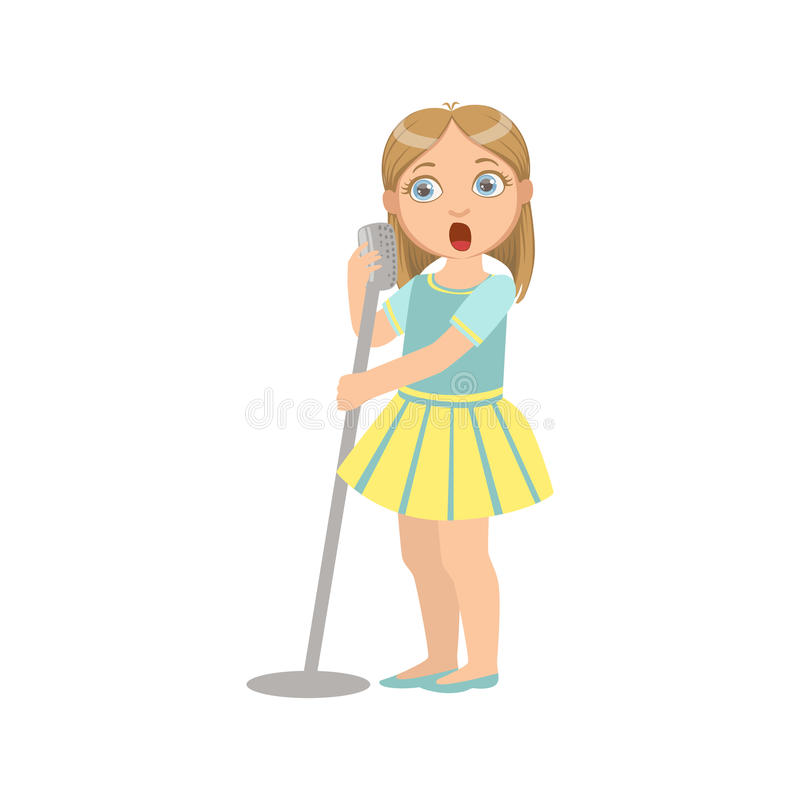 Girl In Yellow Skirt Singing In Karaoke. Bright Color Cartoon Simple Style Flat Vector Sticker Isolated On White Background royalty free illustration