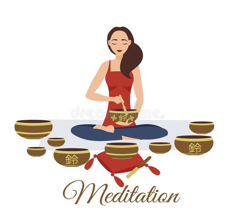 Girl yoga meditates with Tibetan singing bowls. Woman plays music. Relaxation after yoga. Enlightenment with deep music. For a meditation studio vector illustration