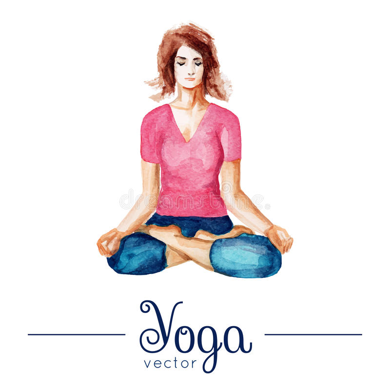 Girl in yoga pose. Illustration with watercolor texture. Vector yoga illustration. Girl in yoga pose. Illustration with watercolor texture. Poster for yoga vector illustration