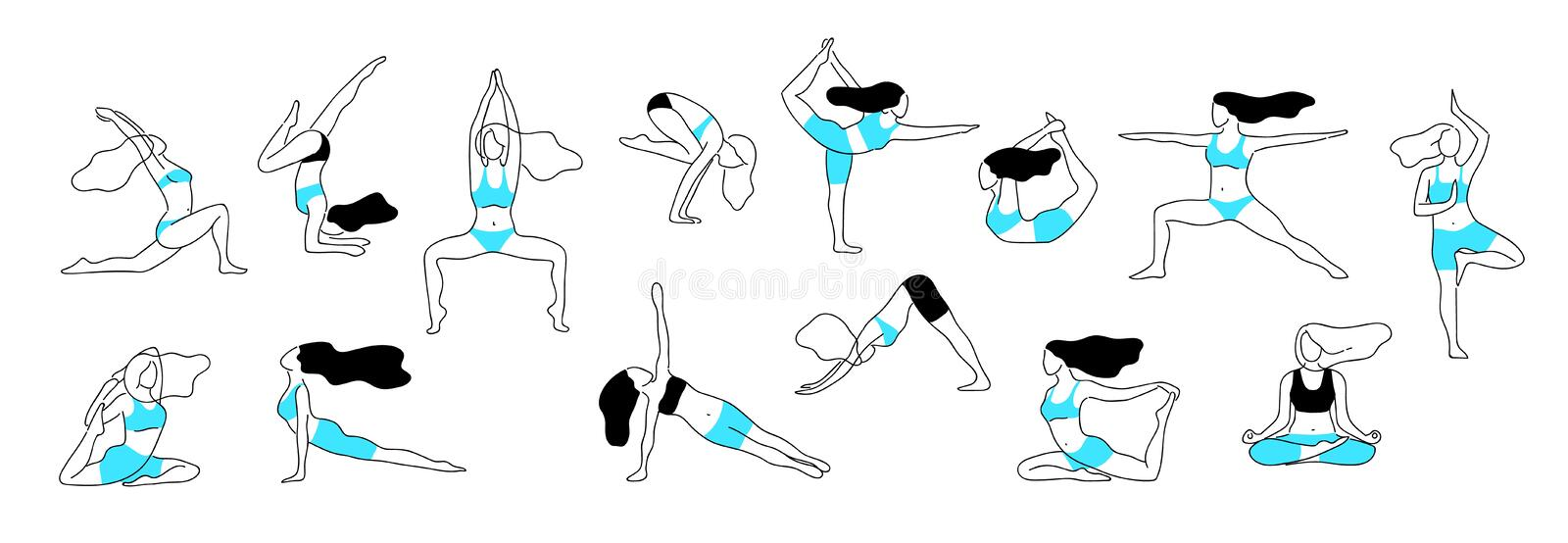 Girl yoga poses. Aerobic stretch fitness exercise, female body workout figure, healthy and flexibility vector line posture stock illustration