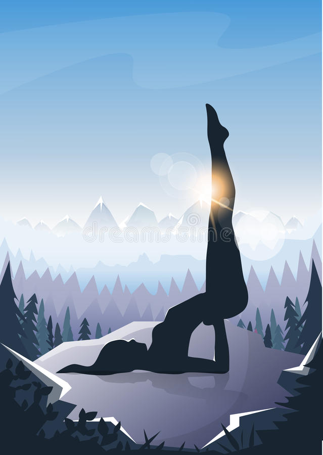 Girl Yoga Position Sport Fitness Woman Exercise Workout Silhouette Mountain Landscape Background stock illustration