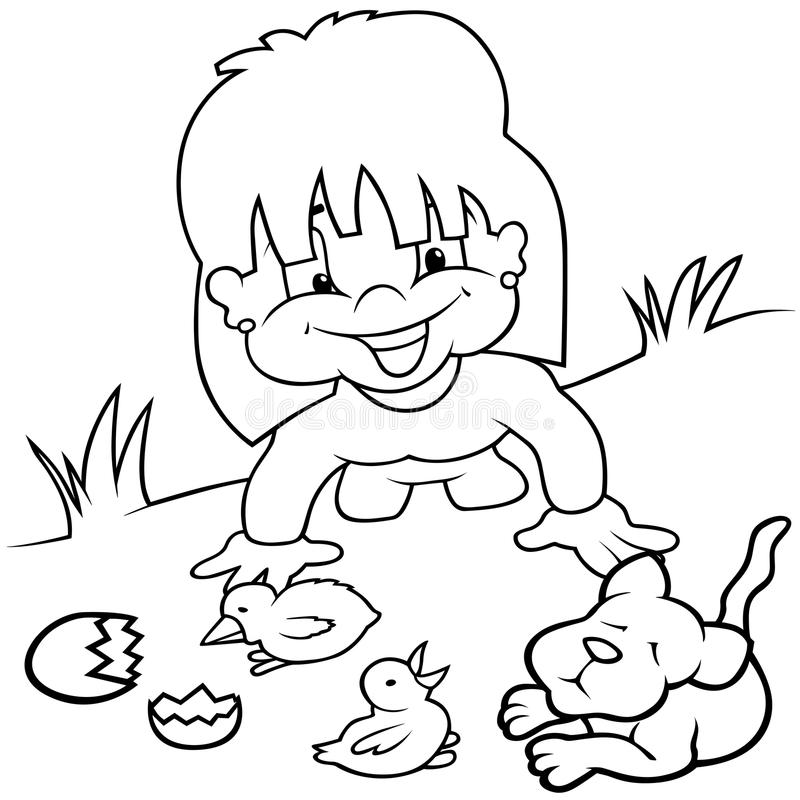 Download Girl and Young Animals stock vector. Image of clipart - 17884378