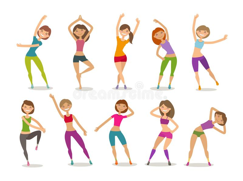 Girl or young woman engaged fitness in gym. Sport, aerobics, healthy lifestyle concept. Funny cartoon vector. Girl or young woman engaged fitness in gym. Sport stock illustration