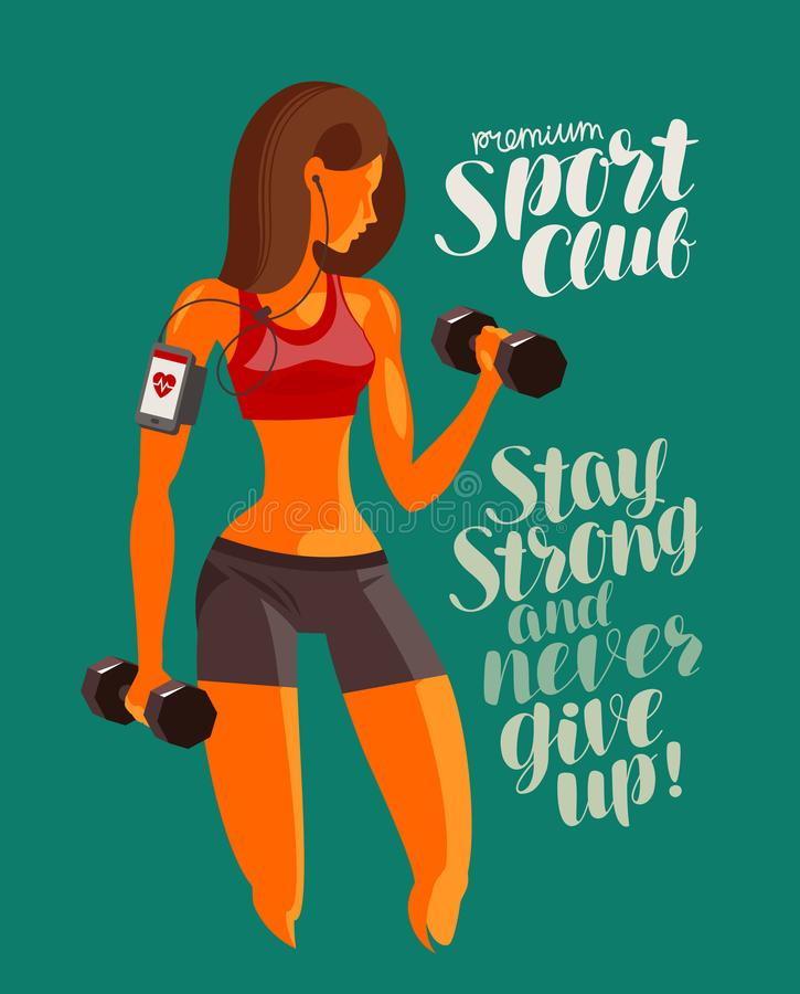 Girl or young woman raises dumbbells. Fitness, gym, bodybuilding concept. Vector illustration. Girl or young woman raises dumbbells. Fitness, gym, bodybuilding vector illustration