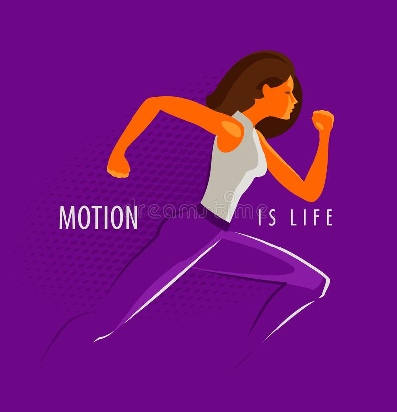Girl or a young woman is running fast. Sport, fitness concept. Motion is life, motivational phrase stock illustration