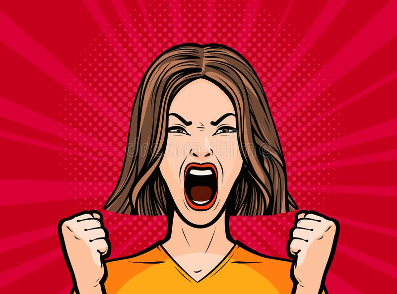 Girl or young woman screaming out loud. Pop art retro comic style. Cartoon vector illustration royalty free illustration