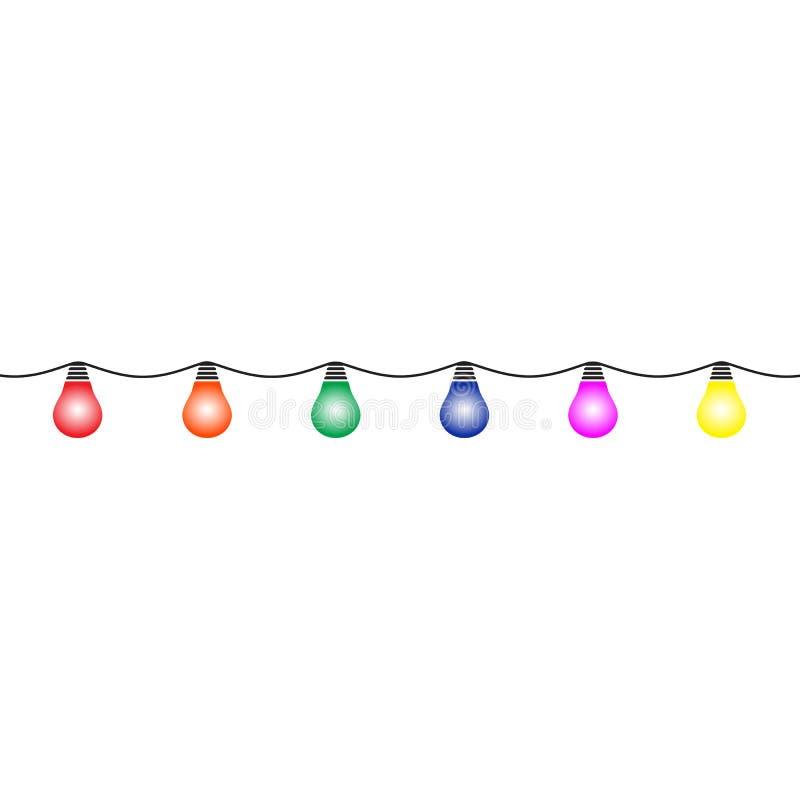 Girland av kulöra LEDDE lampor på en vit bakgrund vektor illustrationer