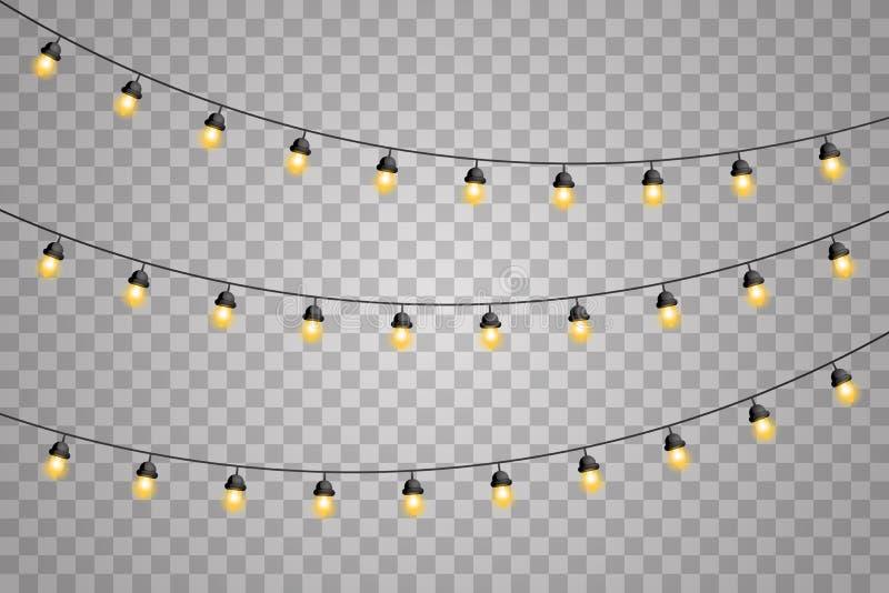 Girland dekoracje zaświecają jarzyć się dowodzony nowy rok odizolowywających neonowych lamp bożych narodzeń projekta realistyczny ilustracja wektor
