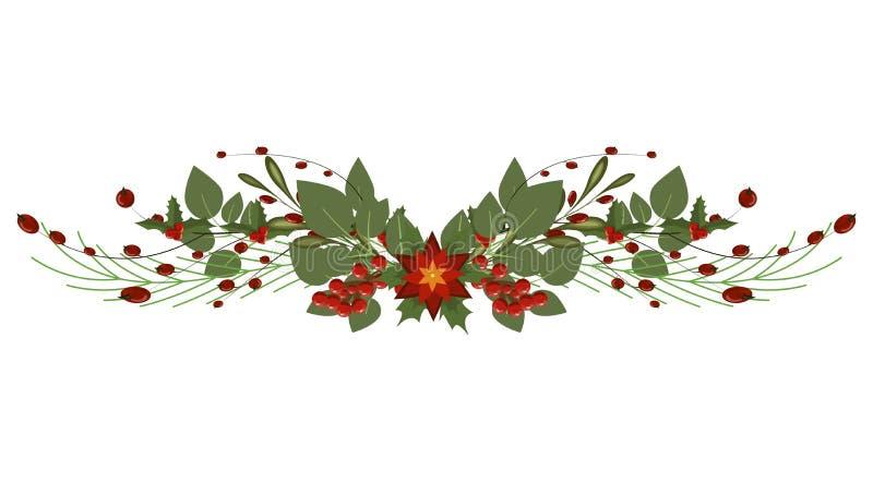 Girland för ferie för avdelare för ram för garnering för julgranfilial vektor illustrationer