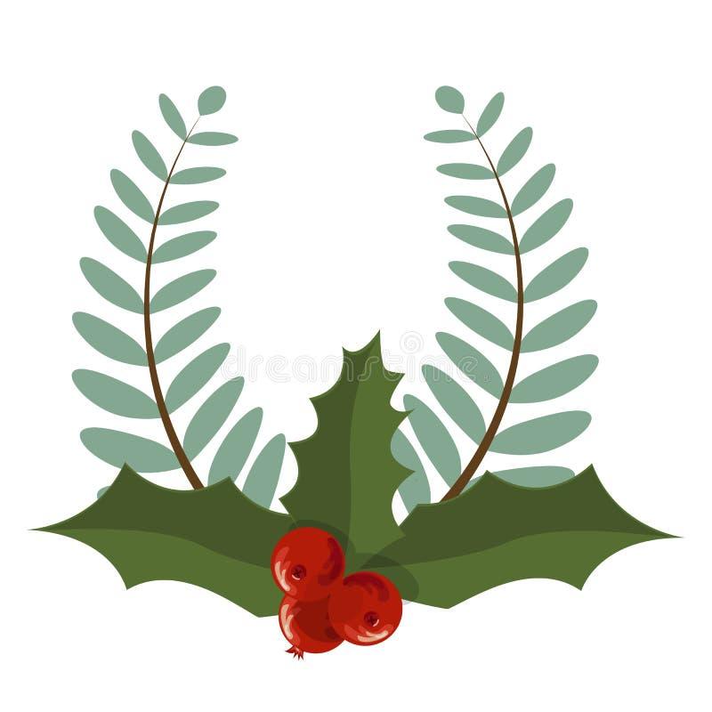 Girland för ferie för avdelare för ram för garnering för julgranfilial stock illustrationer