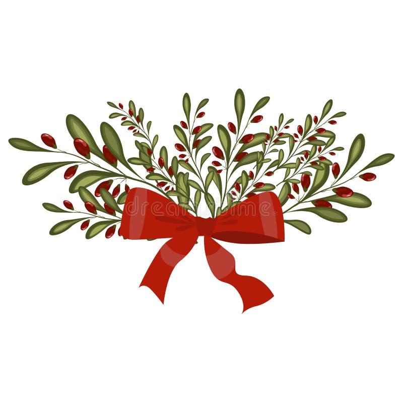 Girland för ferie för avdelare för ram för garnering för julgranfilial royaltyfri illustrationer