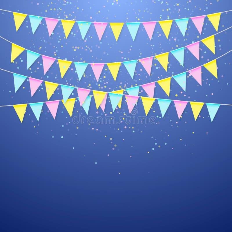 Girland för flagga för färgfestival triangulär Garneringbaner för födelsedagferie, festival, karneval och årsdag royaltyfri illustrationer
