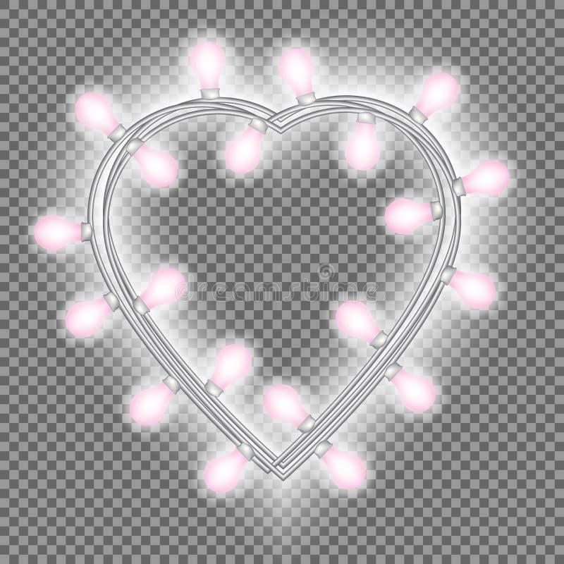 Girland i form av hjärta med glödande rosa ljus som isoleras på genomskinlig bakgrund Vektordesignbeståndsdel för feriekort royaltyfri illustrationer