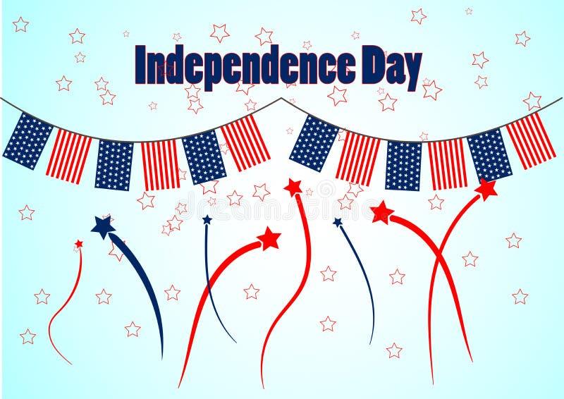 Girland i patriotiska färger av amerikanska flaggan för en självständighetsdagen Bakgrund med fyrverkerier och stjärnor vektor illustrationer