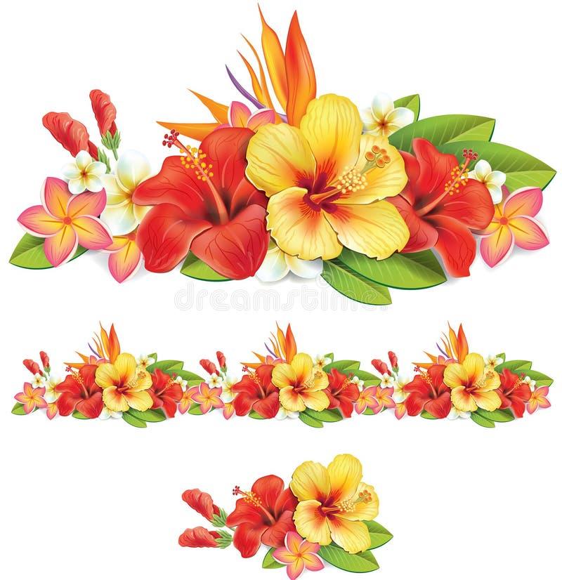 Girlanda tropikalni kwiaty royalty ilustracja