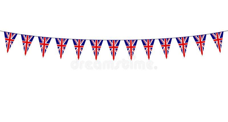 Girlanda z Brytyjskimi banderkami na białym tle ilustracji