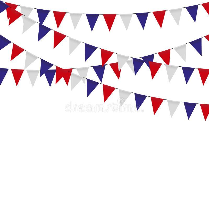 Girlanda z trójboka świętowaniem zaznacza, biel, błękit, czerwone banderki na białym tle royalty ilustracja