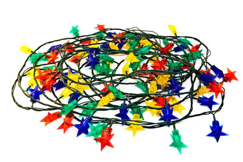 Girlande der farbigen Leuchten für Weihnachtsbäume stockbild