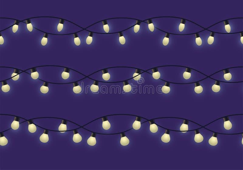 Girlande mit verschiedenen Birnen mit Glühen, unterschiedliche dekorative helle Girlande auf dunklen Hintergrund-, Seitenende- un vektor abbildung