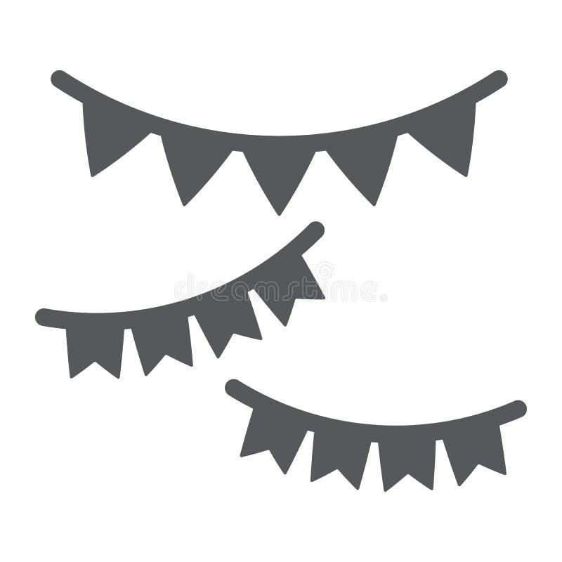 Girlanden Glyphikone, festlich und Dekor, Parteigirlandenzeichen, Vektorgrafik, ein festes Muster auf einem weißen Hintergrund lizenzfreie abbildung