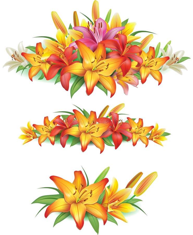 Girlanden von gelben Lilien stock abbildung