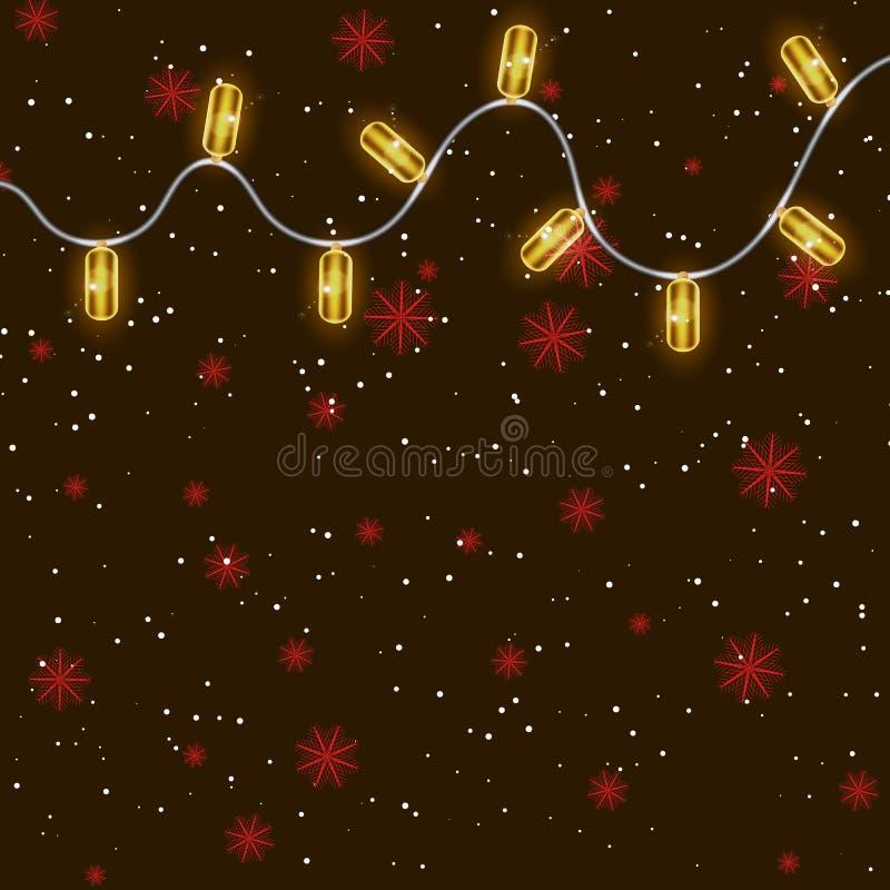 Girlanden, Weihnachtsdekorations-Lichteffekte Lokalisierte Vektor-Gestaltungselemente Glühende Lichter für Weihnachtsfeiertag lizenzfreie abbildung