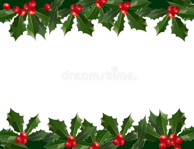 Girlandenmustergrenze der frohen Weihnachten und des guten Rutsch ins Neue Jahr mit Stechpalmenbeeren auf weißem Hintergrund stock abbildung