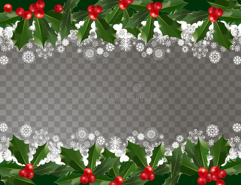 Girlandenmustergrenze der frohen Weihnachten und des guten Rutsch ins Neue Jahr mit Stechpalmenbeeren und -schneeflocken auf tran stock abbildung