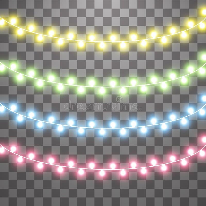 Girlander julpyntljuseffekter Isolerade vektordesignbest?ndsdelar Gl?dande ljus f?r Xmas-ferie vektor illustrationer
