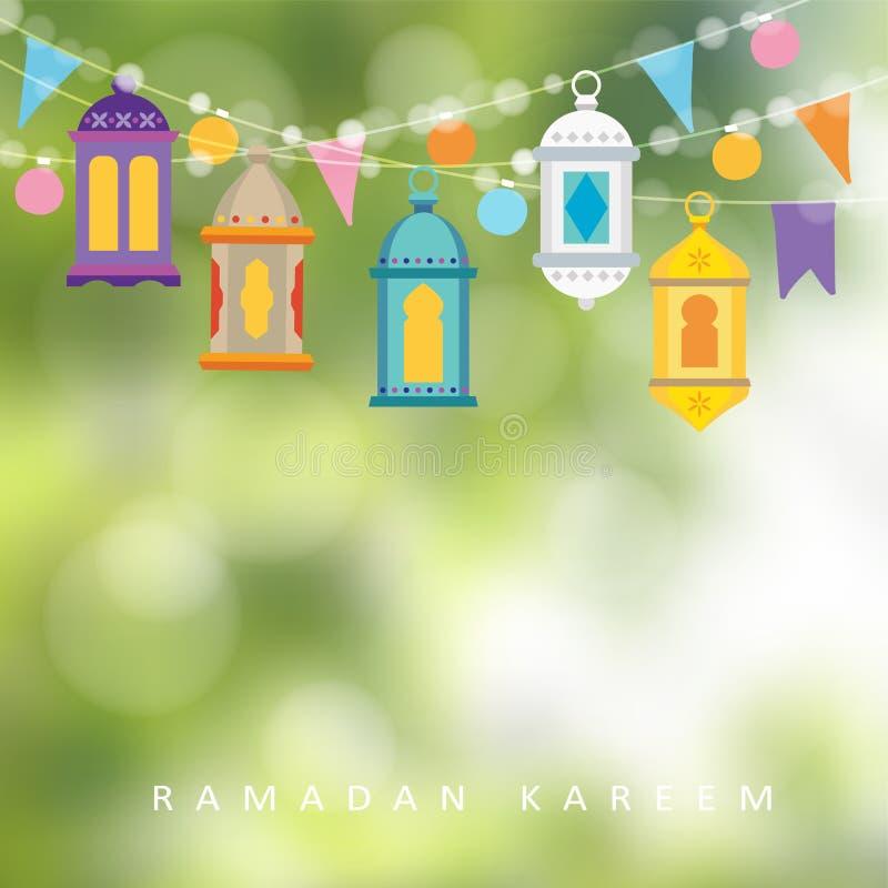 Girlander med att hänga färgrika lyktor, flaggor och ljus Hälsningkortet, inbjudan för muslim semestrar Ramadan Kareem royaltyfri illustrationer