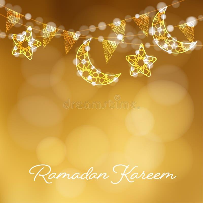 Girlander med dekorativa månar, stjärnor, ljus och partiflaggor Vektorillustrationkort, inbjudan för muslimsk gemenskap royaltyfri illustrationer