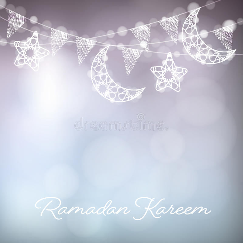 Girlander med dekorativa månar, stjärnor, ljus och partiflaggor Vektorillustrationkort, inbjudan för muslimsk gemenskap vektor illustrationer