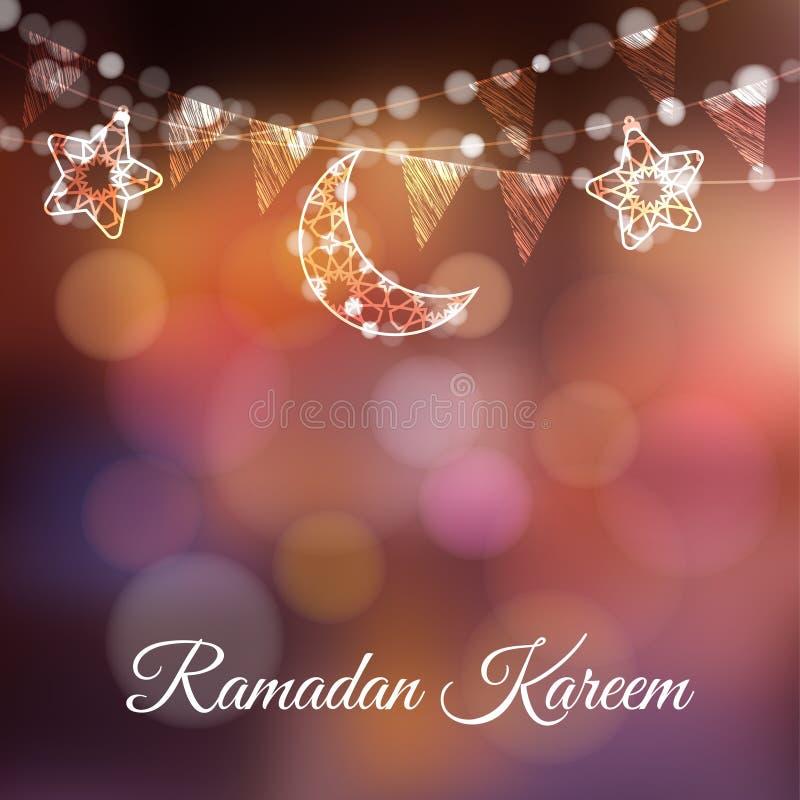 Girlander med dekorativa månar, stjärnor, ljus och partiflaggor Vektorillustrationkort, inbjudan för muslimsk gemenskap stock illustrationer