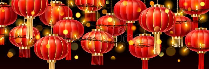 Girlander på kinesiska lyktor eller pappers- lampor för porslin stock illustrationer