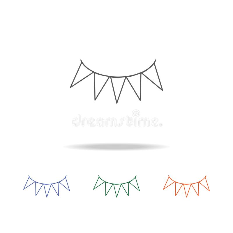 Girlandsymbol Beståndsdel av en mång- kulör symbol för parti för mobila begrepps- och rengöringsdukapps Tunn linje symbol för web stock illustrationer