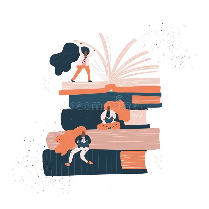 Girld se reposant sur des livres illustration stock