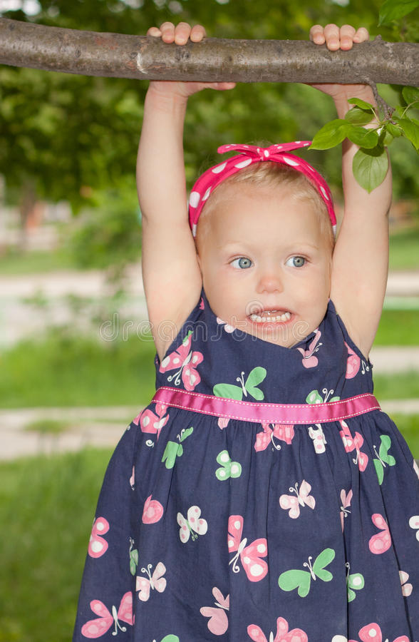Download Girle Hanging On A Tree Branch. Stock Image - Image: 14635727