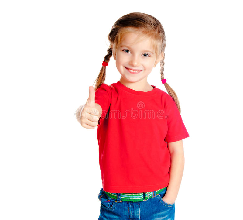 Download Girle showing a thumbs up stock photo. Image of offspring - 22102104
