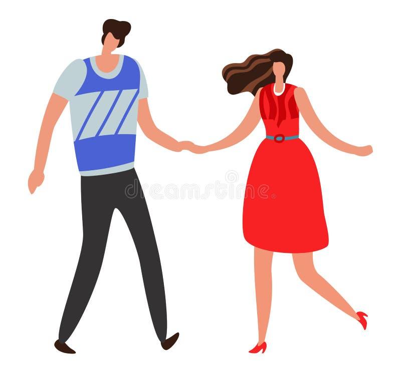 girlfriend Beaux jeunes couples et romantique, garçon et fille ensemble Concept heureux de vecteur de relations illustration stock
