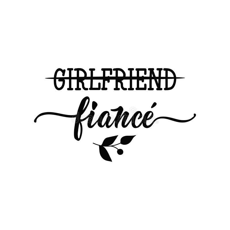 girlfriend fiancé lettrage Illustration moderne de vecteur de calligraphie illustration stock