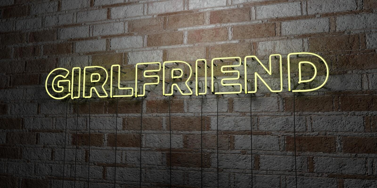 GIRLFRIEND - Glowing Neon Sign on stonework wall - 3D rendered royalty free stock illustration. Can be used for online banner ads and direct mailers royalty free illustration